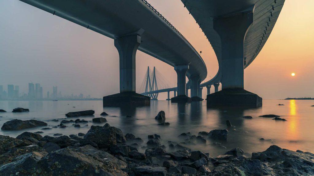 long exposure at sea link, mumbai