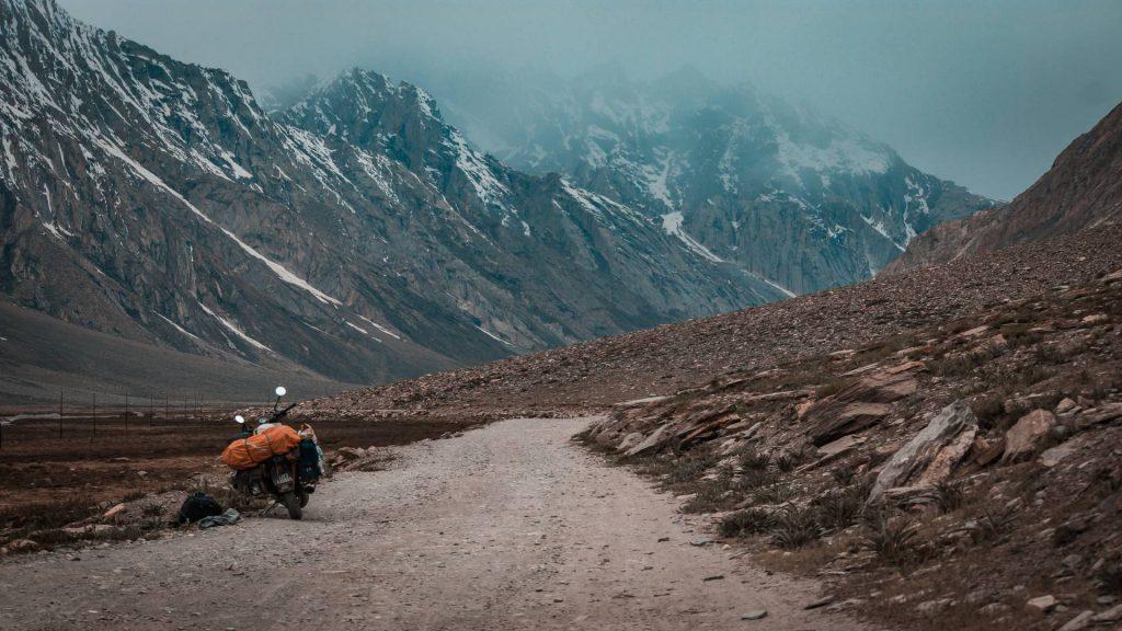 motorcycle in Zankar, Ladakh